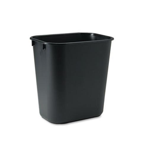 Rubbermaid Commercial Deskside Plastic Wastebasket  Rectangular  3 5 gal  Black (RCP 2955 BLA)