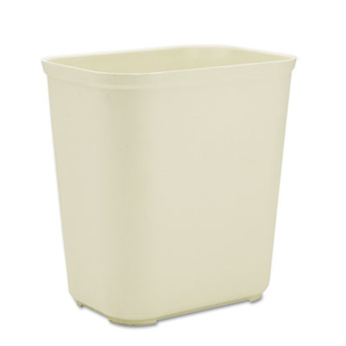 Rubbermaid Commercial Fire-Resistant Wastebasket, Rectangular, Fiberglass, 7gal, Beige (RCP 2543 BEI)