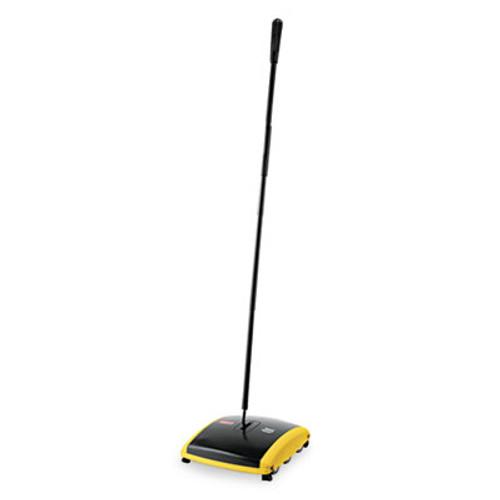"Rubbermaid Commercial Dual Action Sweeper, Boar/Nylon Bristles, 44"" Steel/Plastic Handle, Black/Yellow (RCP 4213-88 BLA)"