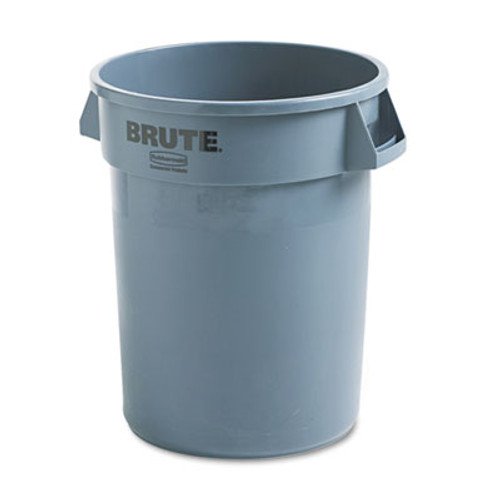 Rubbermaid Commercial Round Brute Container, Plastic, 32 gal, Gray (RCP 2632 GRA)