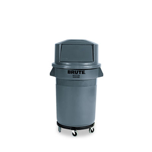 Rubbermaid Commercial Brute Round Twist On Off Dolly  250 lb Capacity  18  dia x 6 63 h  Fits 20-55 Gallon BRUTE Containers  Black (RCP 2640 BLA)