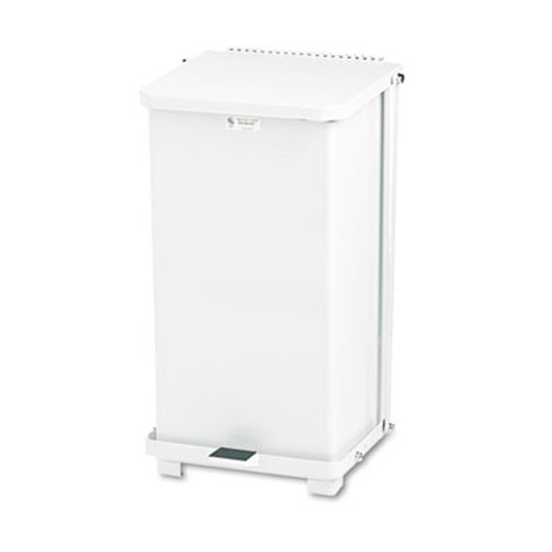 Rubbermaid Commercial Defenders Biohazard Step Can, Square, Steel, 12gal, White (RCP ST12EPLWH)