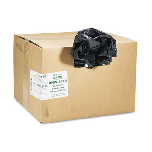 Earthsense Commercial Recycled Can Liners, 16gal, .85 Mil, 24 x 33, Black, 500/Carton (WEB RNW3310)