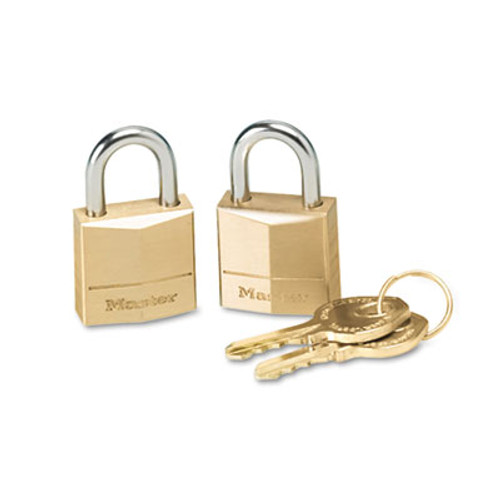 "Master Lock Three-Pin Brass Tumbler Locks, 3/4"" Wide, 2 Locks & 2 Keys, 2/Pack (MAS 120-T)"