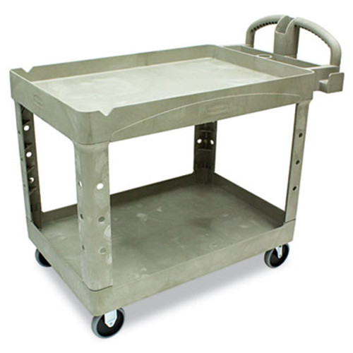 Rubbermaid Commercial Heavy-Duty Utility Cart  Two-Shelf  25 9w x 45 2d x 32 2h  Beige (RCP 4520-88 BEI)