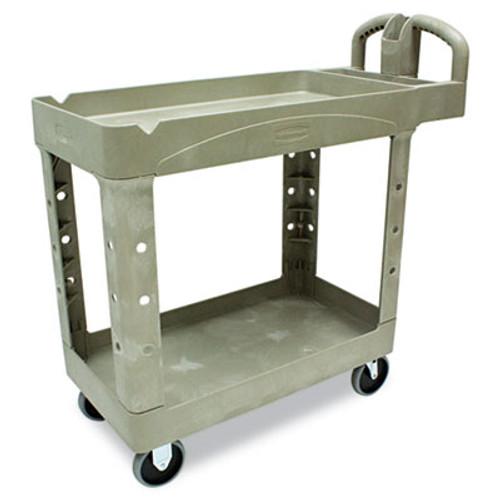 Rubbermaid Commercial Heavy-Duty Utility Cart  Two-Shelf  17 13w x 38 5d x 38 88h  Beige (RCP 4500-88 BEI)