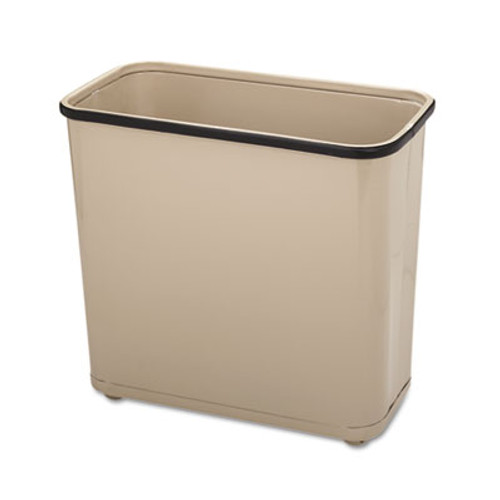 Rubbermaid Commercial Fire-Safe Wastebasket, Rectangular, Steel, 7.5gal, Almond (RCP WB30RAL)