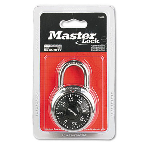 "Master Lock Combination Lock, Stainless Steel, 1 15/16"" Wide, Black Dial (MAS 1500D)"