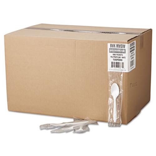 Boardwalk Mediumweight Wrapped Polypropylene Cutlery  Teaspoon  White  1 000 Carton (BWK SPOONIW)