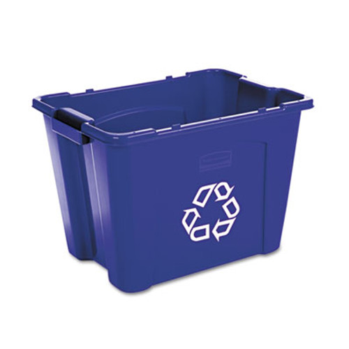 Rubbermaid Commercial Stacking Recycle Bin, Rectangular, Polyethylene, 14gal, Blue (RCP 5714-73 BLU)