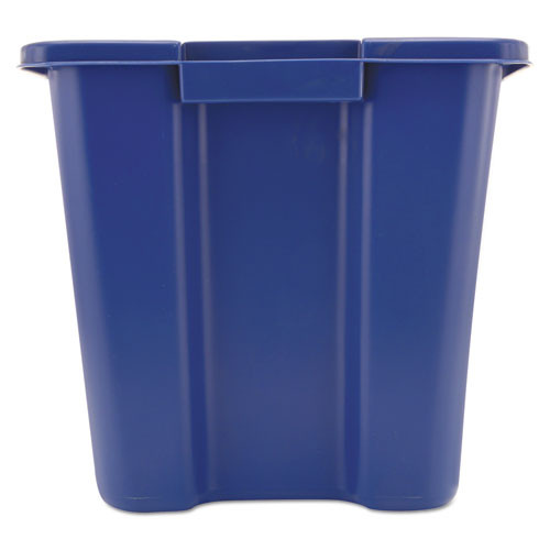 Rubbermaid Commercial Stacking Recycle Bin  Rectangular  Polyethylene  14 gal  Blue (RCP 5714-73 BLU)