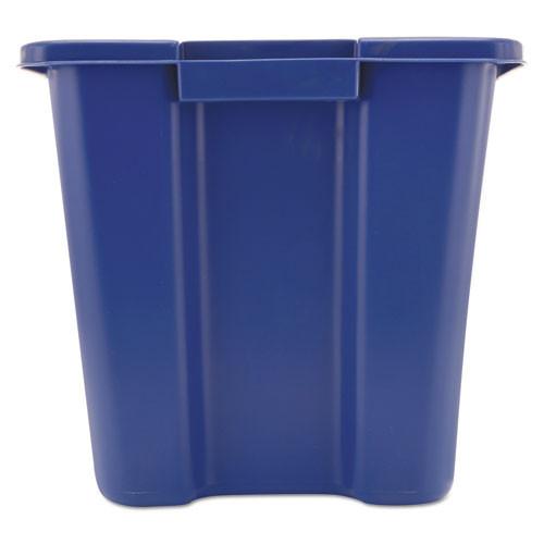 Rubbermaid Commercial Stacking Recycle Bin  Rectangular  Polyethylene  14 gal  Blue (RCP 5714-73 BLU)