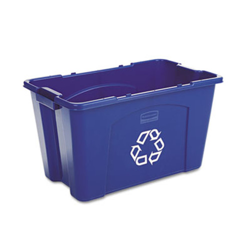 Rubbermaid Commercial Stacking Recycle Bin, Rectangular, Polyethylene, 18gal, Blue (RCP 5718-73 BLU)
