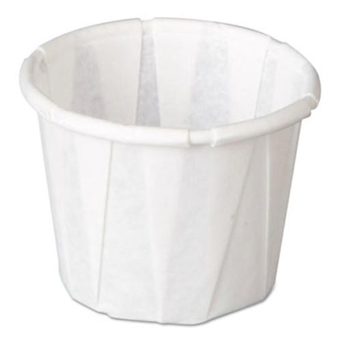 Genpak Squat Paper Portion Cup  Pleated   5oz  White  250 Sleeve  20 Sleeve Carton (GNP F050)