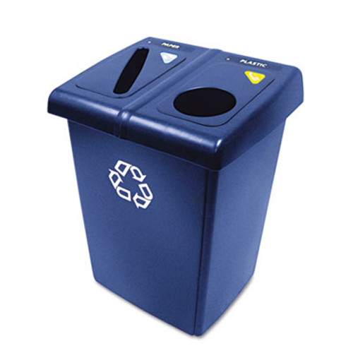 Rubbermaid Commercial Glutton Recycling Station  Two-Stream  46 gal  Blue (RCP 1792339)