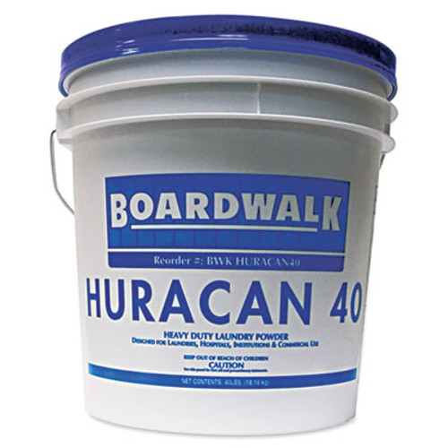 Boardwalk Low Suds Industrial Powder Laundry Detergent  Fresh Lemon Scent  40lb Pail (BWK HURACAN40)