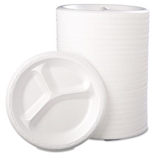 Genpak Foam Dinnerware  Plate  3-Comp  8 7 8  dia  White  125 Pack  4 Packs Carton (GNP 83900)