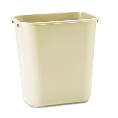 Rubbermaid Commercial Deskside Plastic Wastebasket  Rectangular  7 gal  Beige (RCP 2956 BEI)