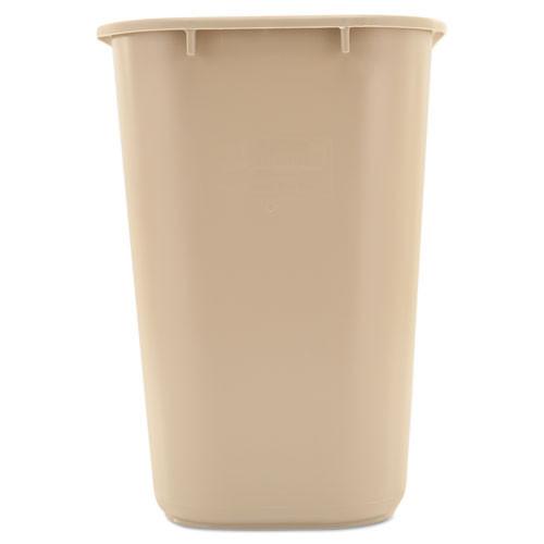 Rubbermaid Commercial Deskside Plastic Wastebasket  Rectangular  7 gal  Beige (RCP 2956 BEI)
