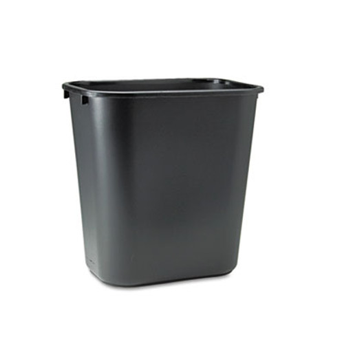 Rubbermaid Commercial Deskside Plastic Wastebasket  Rectangular  7 gal  Black (RCP 2956 BLA)