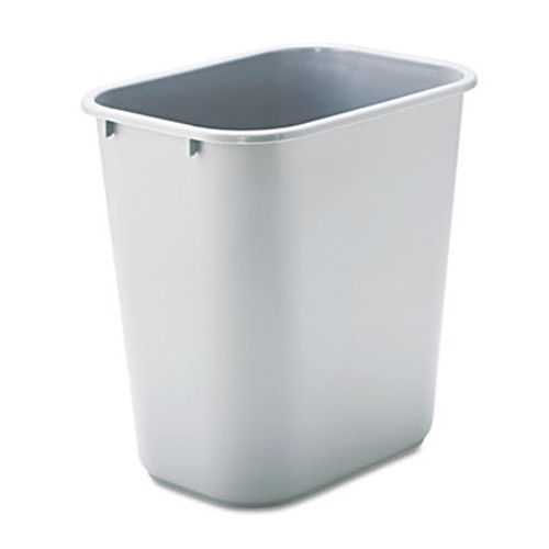 Rubbermaid Commercial Deskside Plastic Wastebasket  Rectangular  7 gal  Gray (RCP 2956 GRA)