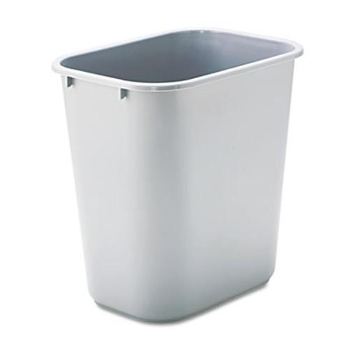 Rubbermaid Commercial Deskside Plastic Wastebasket  Rectangular  7 gal  Gray (RCP 2956 GRA)
