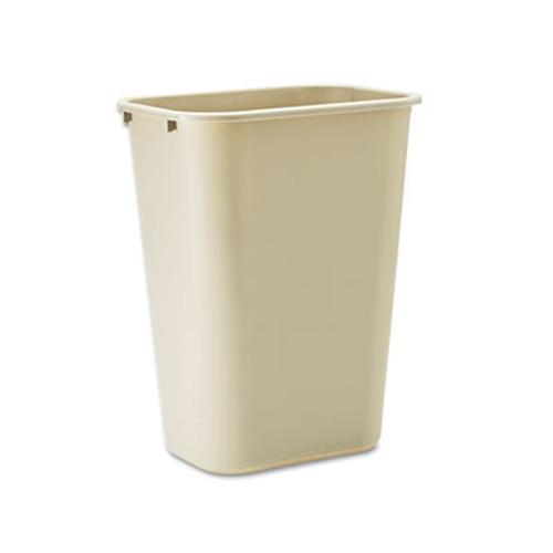 Rubbermaid Commercial Deskside Plastic Wastebasket  Rectangular  10 25 gal  Beige (RCP 2957 BEI)