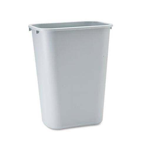 Rubbermaid Commercial Deskside Plastic Wastebasket  Rectangular  10 25 gal  Gray (RCP 2957 GRA)