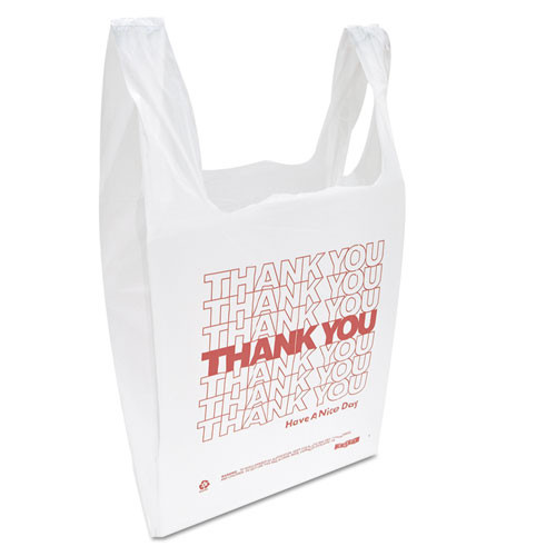 Inteplast Group  Thank You  Handled T-Shirt Bag  0 167 bbl  12 5 microns  11 5  x 21   White  900 Carton (IBS THW1VAL)