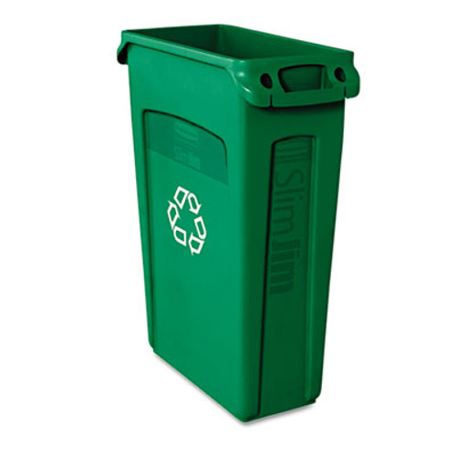 Rubbermaid Commercial Slim Jim Recycling Container with Venting Channels  Plastic  23 gal  Green (RCP 3540-07 GRE)