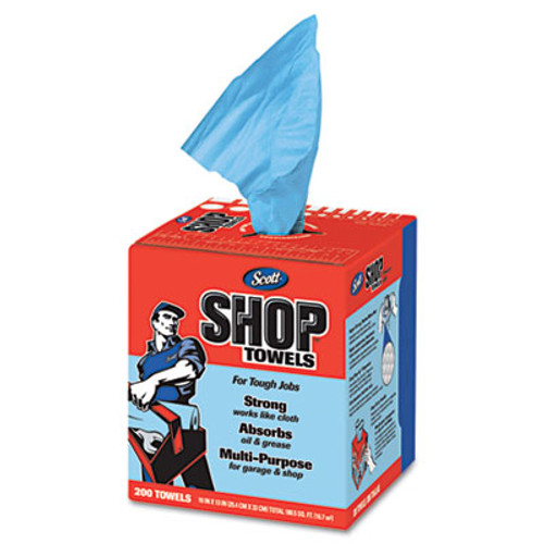 Scott Shop Towels  POP-UP Box  Blue  10 x 12  200 Box  8 Boxes Carton (KCC 75190)