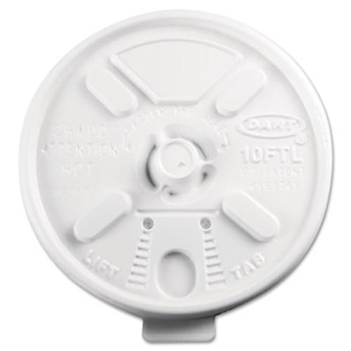 Dart Lift N' Lock Plastic Hot Cup Lids  Fits 10oz Cups  White  1000 Carton (DCC 10FTL)