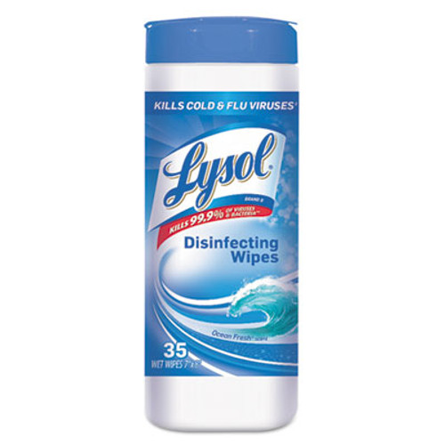 LYSOL Brand Disinfecting Wet Wipes, Ocean Fresh 7 x 8, White, 35/Canister, 12/Carton (REC 81146)