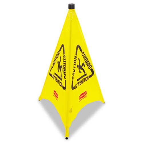 Rubbermaid Commercial Three-Sided Caution  Wet Floor Safety Cone  21w x 21d x 30h  Yellow (RCP 9S01 YEL)