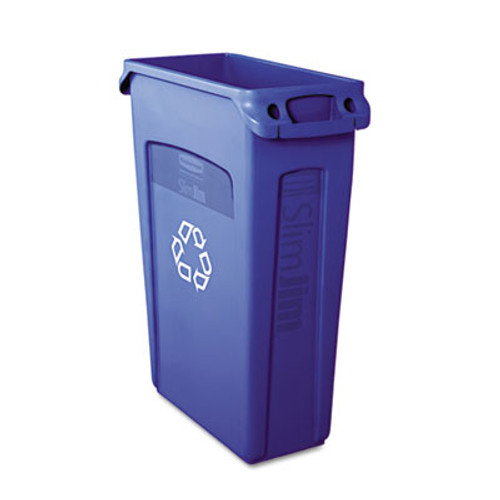 Rubbermaid Commercial Slim Jim Recycling Container w/Venting Channels, Plastic, 23gal, Blue (RCP 3540-07 BLU)