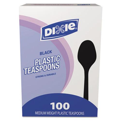 Dixie Plastic Cutlery, Heavy Mediumweight Teaspoons, Black, 100/Box (DXETM507)
