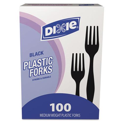 Dixie Plastic Cutlery, Heavy Mediumweight Forks, Black, 100/Box (DXEFM507)