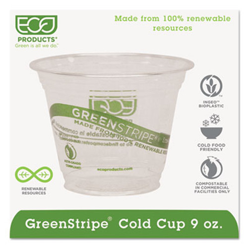 Eco-Products GreenStripe Renewable & Compostable Cold Cups - 9oz., 50/PK, 20 PK/CT (ECP EP-CC9S-GS)
