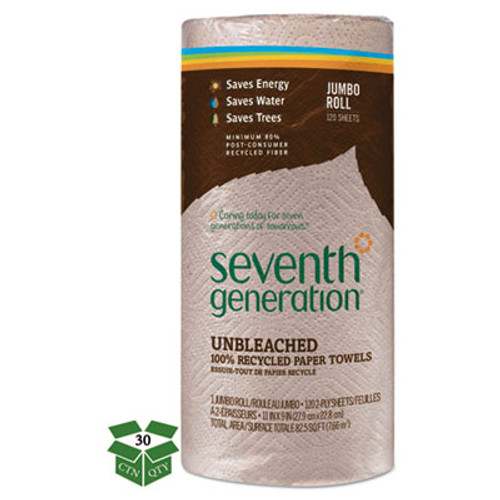 Seventh Generation Natural Unbleached 100  Recycled Paper Towel Rolls 11 x 9 120 Sheets RL 30 RL CT (SEV 13720)