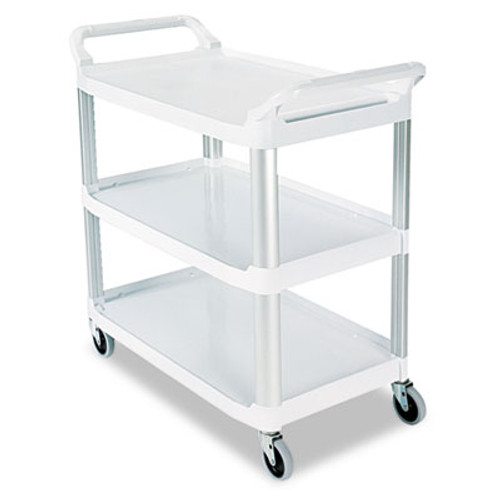 Rubbermaid Commercial Open Sided Utility Cart  Three-Shelf  40 63w x 20d x 37 81h  Off-White (RCP 4091 CRE)