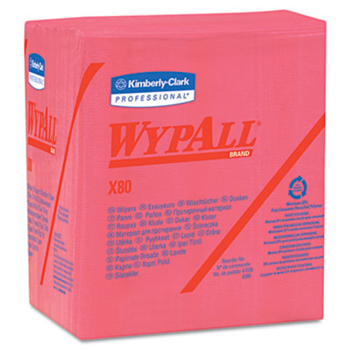 WypAll X80 Cloths  1 4 Fold  HYDROKNIT  12 1 2 x 12  Red  50 Box  4 Boxes Carton (KCC 41029)