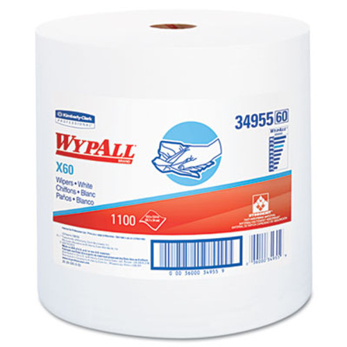 WypAll X60 Cloths  Jumbo Roll  White  12 1 2 x 13 2 5  1100 Towels Roll (KCC 34955)