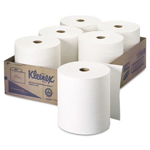 "Kleenex Hard Roll Towels, 8"" x 600ft, White, 6 Rolls/Carton (KCC 11090)"