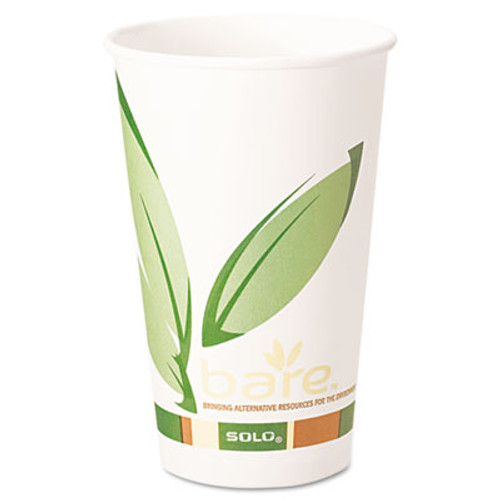 Dart Bare by Solo Eco-Forward Recycled Content PCF Paper Hot Cups  16 oz  1 000 Ct (SCC 316RC)