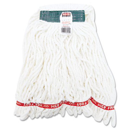 Rubbermaid Commercial Web Foot Shrinkless Looped-End Wet Mop Head  Cotton Synthetic  Medium  White  6 Carton (RCP A212 WHI)