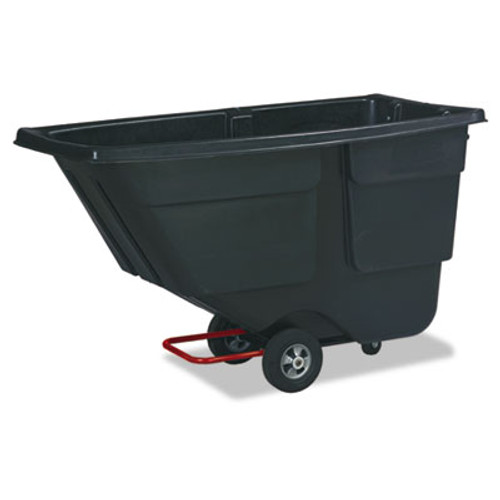 Rubbermaid Commercial Rotomolded Tilt Truck, Rectangular, Plastic, 600lb Cap, Black (RCP 9T18 BLA)