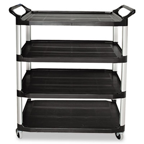 Rubbermaid Commercial Open Sided Utility Cart  Four-Shelf  40 63w x 20d x 51h  Black (RCP 4096 BLA)