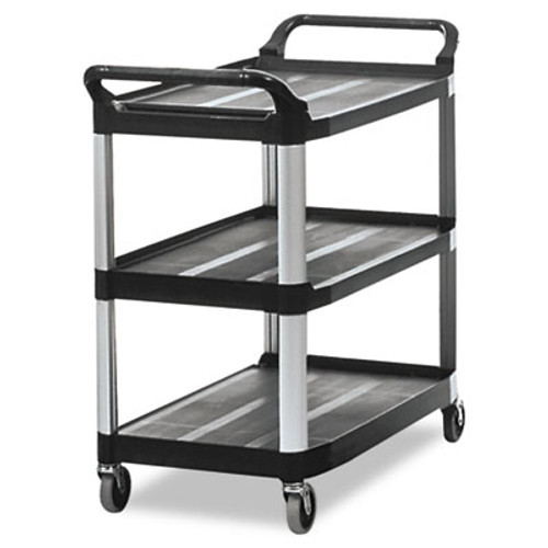 Rubbermaid Commercial Open Sided Utility Cart  Three-Shelf  40 63w x 20d x 37 81h  Black (RCP 4091 BLA)