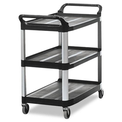Rubbermaid Commercial Open Sided Utility Cart  Three-Shelf  40 63w x 20d x 37 81h  Black (RCP 4091 BLA)