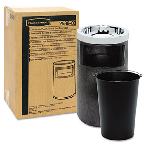Rubbermaid Commercial Smoking Urn w/Ashtray and Metal Liner, 19.5H x 12.5 dia, Black (RCP 2586 BLA)